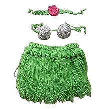 Vogholic Baby Girls' Handmade Crochet Hula Skirt & Bra Photo Props Set Green