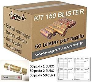 Blísters para monedas de euro KIT 150 MIXTO: 1 € - 2 € Y 50 Céntimos (50 piezas por denominación) Obra maestra y sellos GRATIS: Amazon.es: Oficina y papelería