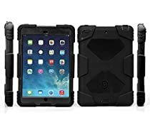 Ipad mini case,Olg Tech design *new* products iPad mini 1&2&3 case [snowproof] [waterproof] [dirtproof] [shockproof] cover case with stand Super protection for kids Extreme Duty Dual Protective Back Cover Case Carabiner + whistle + handwritten touch pen (black black)