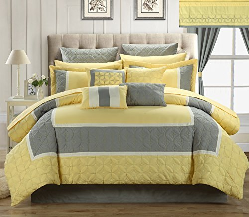 Chic Home 24-Piece Aida Quilted Embroidered Room in a Bag Comforter Set, Yellow, Queen