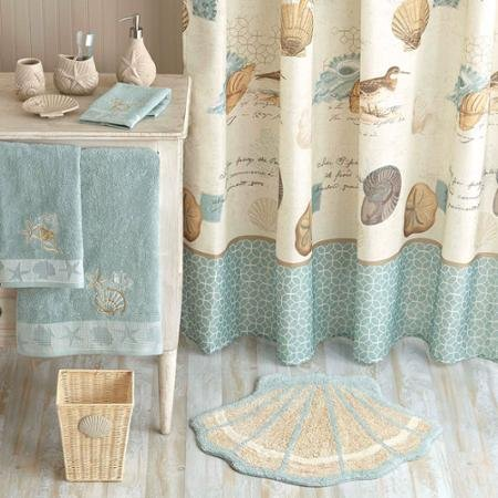 100% polyester Better Homes and Gardens Coastal Collage Fabric Shower Curtain by Better Homes & Gardens
