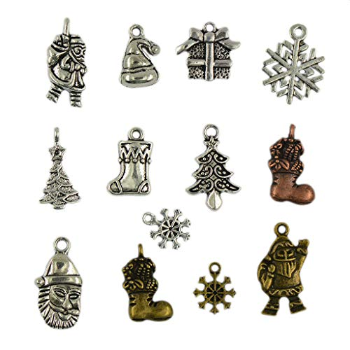 - Vintage 24pcs Mixed Christmas Symbols Pendant Beaded Jewelry Finding Charms Necklace Jewelry Crafting Key Chain Bracelet Pendants Accessories Best
