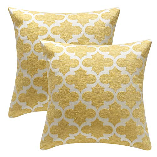 Yellow Striped Pillow - STARSCITY Set of 2 Square Decorative Throw Pillow Cases 100% Cotton Soft Microfiber Outdoor Cushion Covers 18 X 18 for Sofa Bedroom Throw Cushion Cover (Yellow, 18x18 inches)