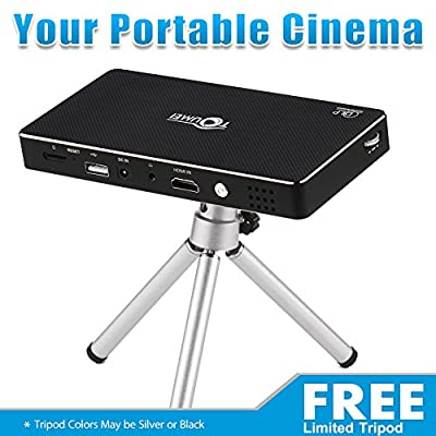 Theater Projector Pro DLP, Smart Mini Pico Portable Video Projector, HDMI Bluetooth WIFI Wireless Connectivity, Support 1080p with Premium Osram RGB LED| Free Tripod (Colors May Differ)