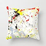 Paint Splatter Nursery Throw Pillow Cover for Girls Dorm Room Decor Square Canvas Cushion Cover with Zipper 45 x 45cm