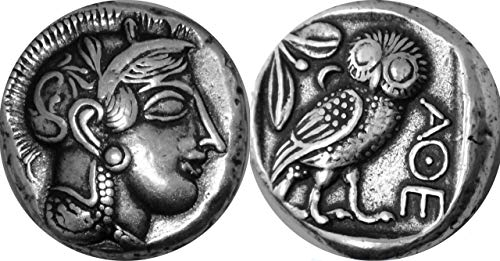 Athena and Owl, Goddess of Wisdom, Mark of Athena, Greek Coins, Greek Mythology (12-S)