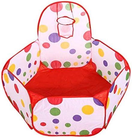 Kentop Niños Pelotas Baño Pop Up Tienda Campaña Infantil bebé Casa de Juguete Exterior con Mini Canasta de Baloncesto, Fibra de poliéster, Bunte, 0.9M