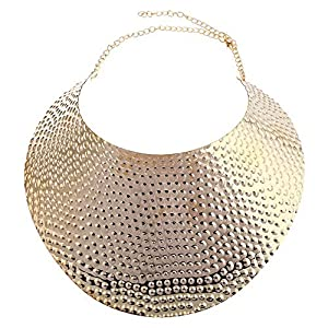 Reliablee Chunky Bib Statement Torque Choker Necklaces. Jewelry Set for Women and Girls.