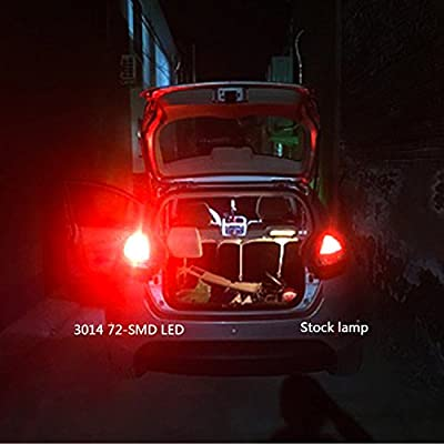 Phinlion Super Bright 3014 72-SMD 1157 2357 7528 BAY15D Red LED Light Bulbs for Tail Brake or Turn Signal Blinker Lamp Lights: Automotive