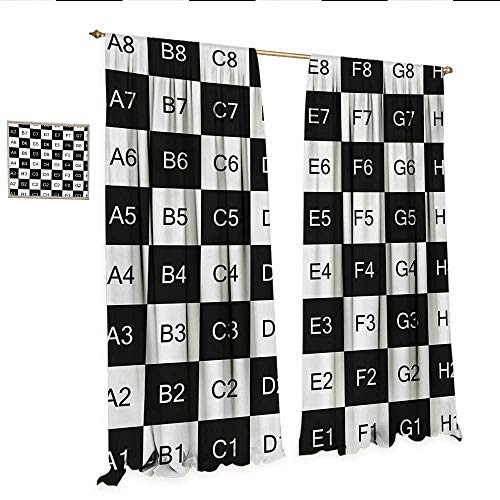 WinfreyDecor Checkers Game Decor Curtains by Monochrome Chess Board Design with Tile Coordinates Mosaic Square Pattern Patterned Drape for Glass Door W108 x L84 Black White.jpg