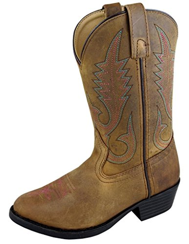 Smoky Mountain Childrens Henry Distressed Leather Shaft Round Toe Brown/Green Western Cowboy Boot