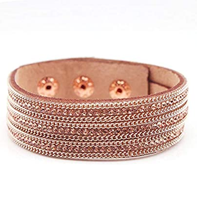 ZUOZUO Leather Wristband Bracelet Punk Rhinestone Crystal Wrapped Multi-Layer Ladies Bracelet Charm Statement Jewelry Estimated Price £17.99 -