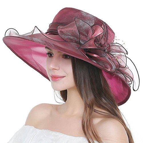 Lvaiz Women's Organza Church Kentucky Derby Hats Fascinator Bridal Cap British Tea Party Wedding Hat Summer UV -