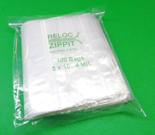 100 ZIPLOCK 8x10 Heavy Duty 4Mil CLEAR PLASTIC BAGS ZipLock 8'' x10'' RECLOSABLE (LZ 2.7 FRE) by Novel
