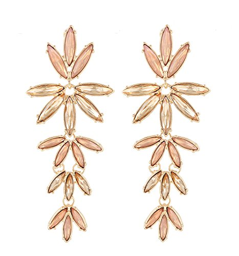 Crystal Drop Earrings Flower (PHALIN JEWELRY Women's Gold-tone Crystal Flower Earrings - Delicate Rhinestone Flower Statement Dangle Earrings)