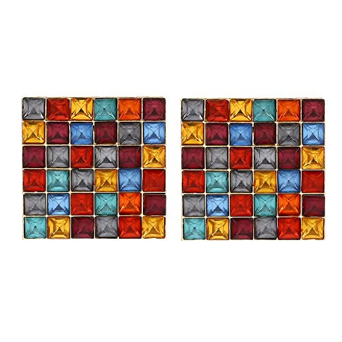 Statement Drop Earrings Gorgeous Colorful Crystal Gold Geometric-Shaped Dangle Earrings for Women Girls (Colored Squares)