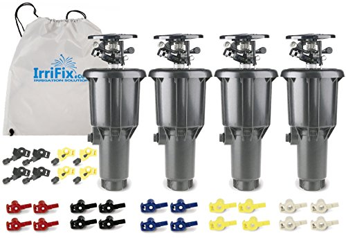 Rain Bird Maxi-Paw 2045A Impact Rotor Sprinkler - 4 Pack in a Sack by IrriFix - Includes 7 Different Nozzles for Each Head