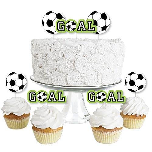 Big Dot of Happiness Goaaal - Soccer - Dessert Cupcake Toppers - Baby Shower or Birthday Party Clear Treat Picks - Set of 24]()