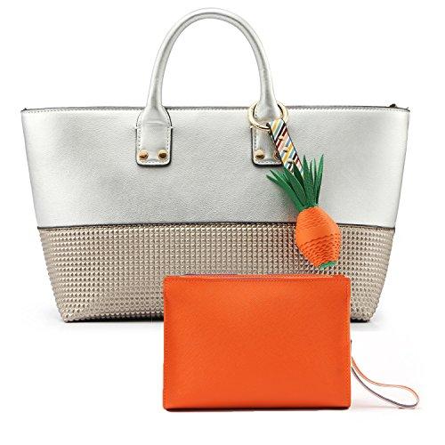 Fashion Designer Top-Handle Handbag for Women - Elegant PU Leather Medium Zip Cross-body Handbags with a Gift Wrist-lets, Summer Brown Tote Shoulder Bag Silver White