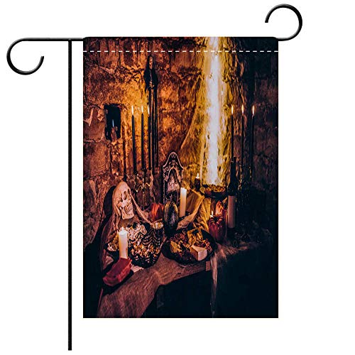 (BEICICI Garden Flag Double Sided Decorative Flags Spooky Halloween Decoration with Food at Scary Party Best for Party Yard and Home Outdoor)