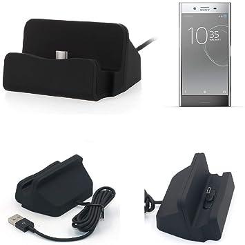 KS-Trade Dock USB para el Sony Xperia XZ Premium, Negro | estación de Carga Base Cargador de Escritorio Estacion Compacto y Discreto. Type C Docking ...