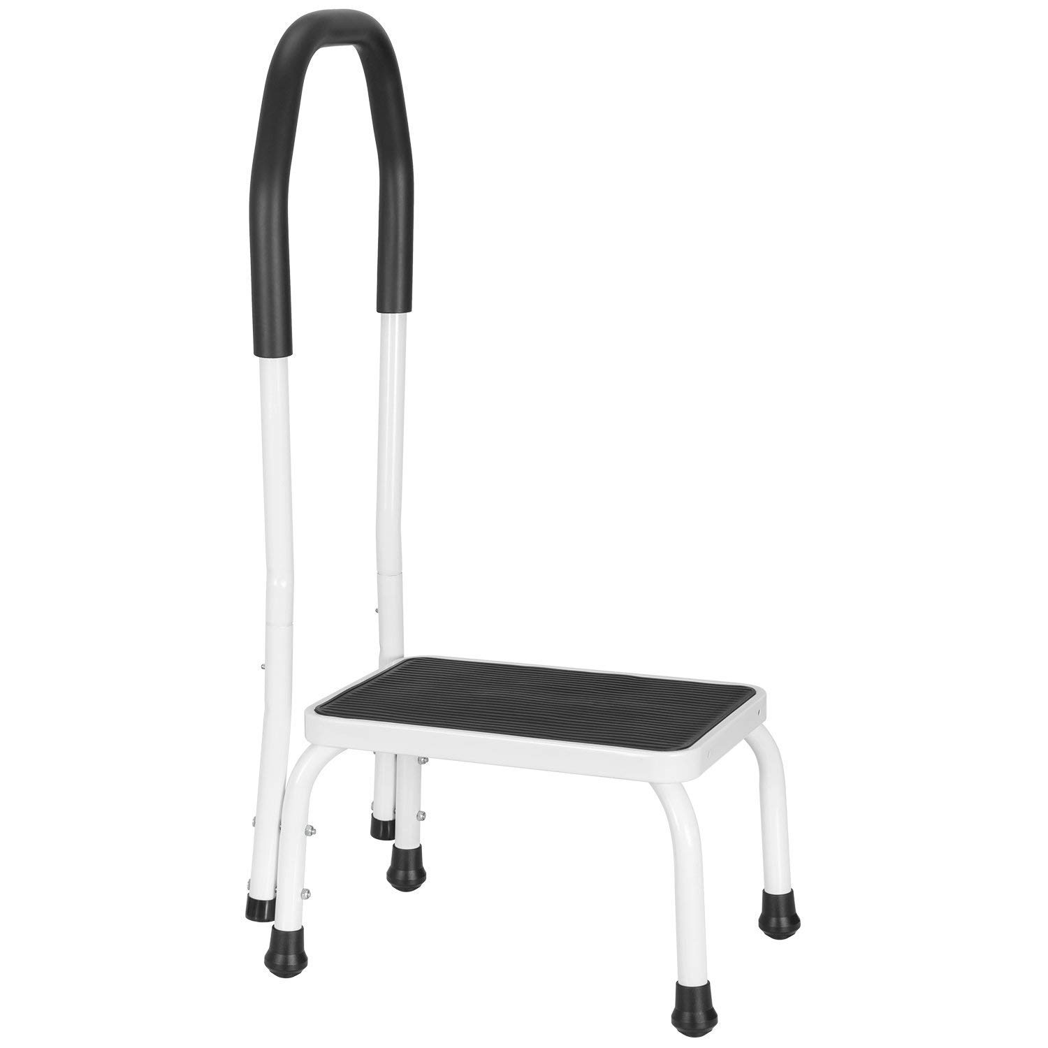 Ollieroo Step Stool Steel Support Ladder with Cushion Grip Handle, Non Skid Rubber Platform One Step 330-Pound Capacity (Black+White) by Ollieroo