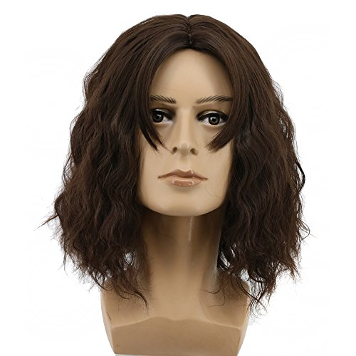 Yuehong Fashion Mens Brown Hair Wigs Short Curly Movie Cosplay Costume Wig ()