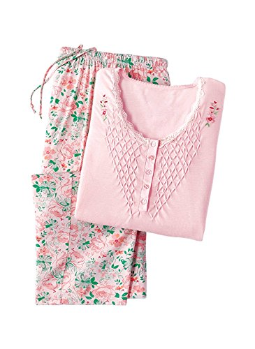 Smocked Set Capri - Capri Pajamas with Smocked Top | Summer Pajamas, Color Pink, Size Extra Large (1X), Pink, Size Extra Large (1X)