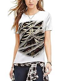 Leezeshaw Women 3D Printed Short Sleeve Casual Graphic Base Tshirt Tunic Tops