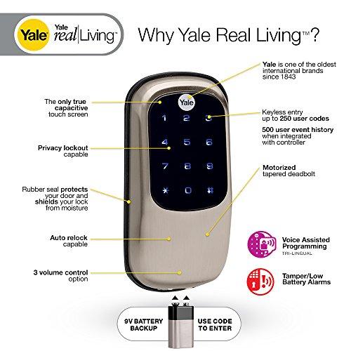 Yale Real Living Key Free Touchscreen Z-Wave Smart Deadbolt