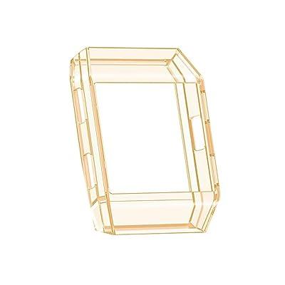 Coque Fitbit Ionic, Cadre de Remplacement Case TPU Silicone Transparente Gold Jaune Housse Bumper Cover pour Fitbit Ionic