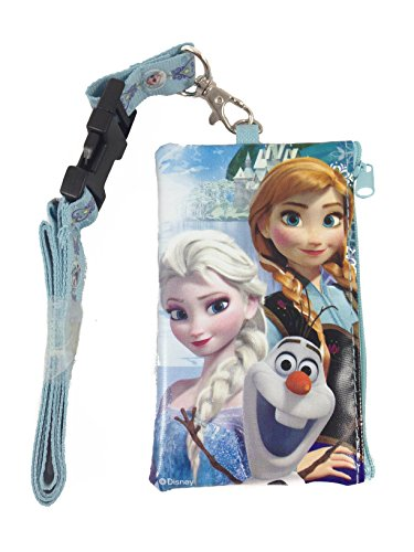 Disney Frozen Elsa, Anna and Olaf KeyChain Lanyard Fastpass ID Ticket Holder Baby Blue
