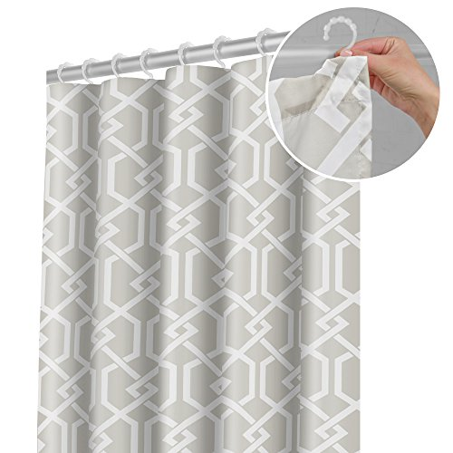- Maytex Smart Celtic Fabric Shower Curtain with Attached Roller Glide Hooks, 70 inch x 72 inch, Sand