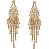 Humble Chic Darling Waterfall Tassel Earrings CZ Simulated Diamond Statement Studs