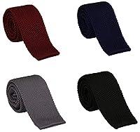 "Gellwhu 4pcs Men's Vintage Smart Casual 2"" Solid Skinny Knit Tie Necktie"
