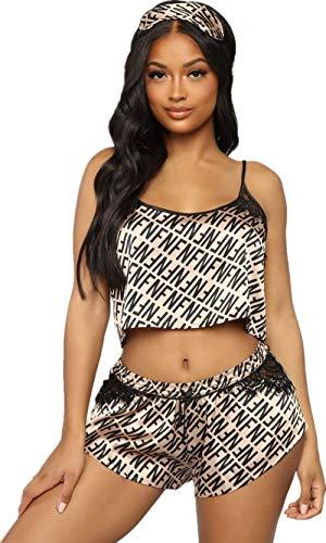 - Women Satin Pajama Set Cami Silky Lace Nightwear 2 Piece Lingerie PJ Sexy Short Sleepwear with Eye Mask (Coffee, XL)