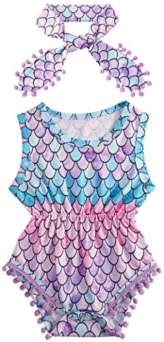 (0-3 Months Baby Rompers Newborn Color Fish Scales 3D Print Jumpsuits Pink Onesie Sleeveless Playsuits Mermaid Round Neck Sunsuits 2 Pcs Sets with Bow-Knot Headband)