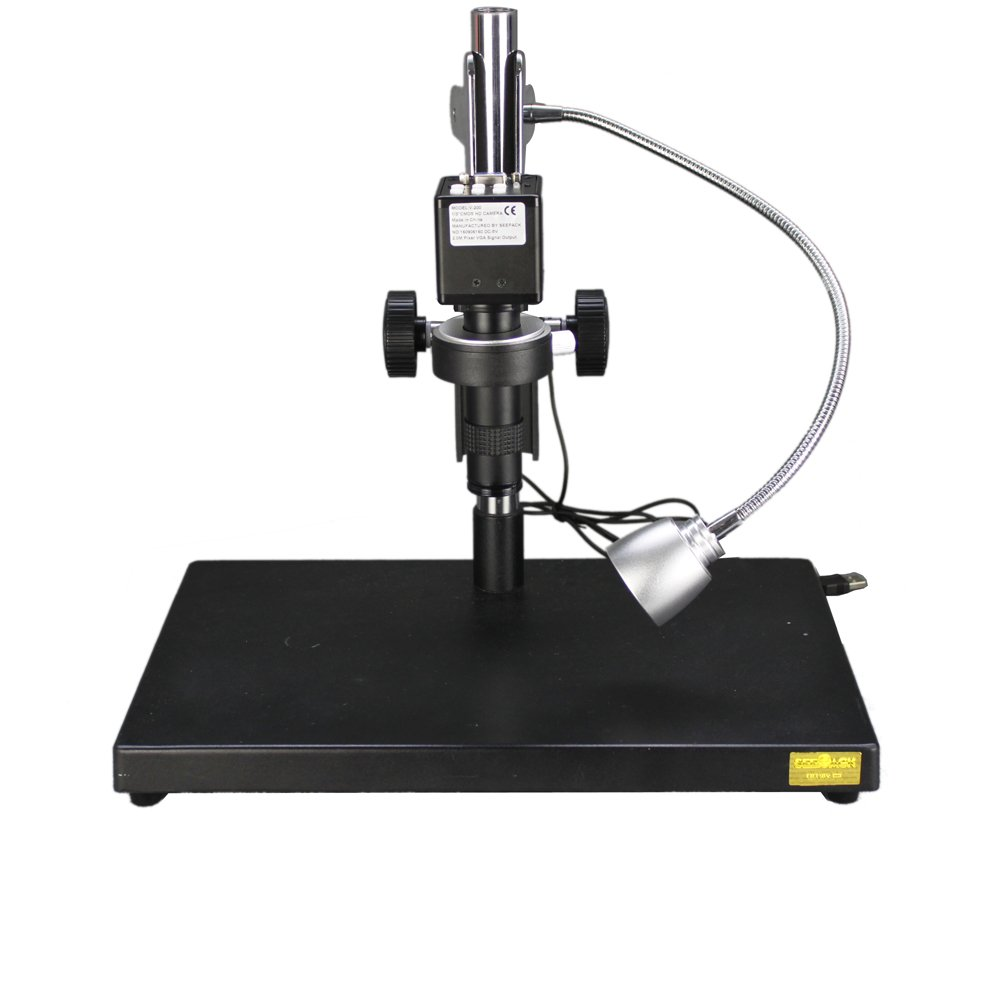 New 2.0MP HD Digital Industry Electron Video Microscope Camera VGA Video Output & 100X C-Mount Lens & Table Stand & LED Spotlight for Industrial Component Repair Electronics Manufacturing by Unknown