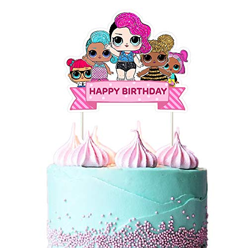 LOL Cake Topper, Happy Birthday Cake Topper, Pink Cake Decorations for Bday Theme Party - Single Side 1 count