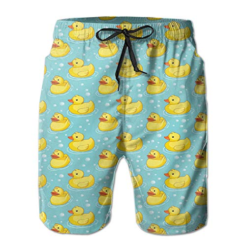 (NICOKEE Cool Swim Trunks for Men Cute Tiled Yellow Rubber Ducky Summer Quick Dry Beach/Board Shorts)