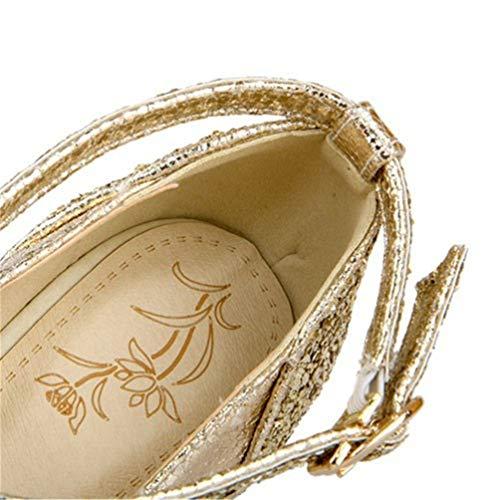 Mariage Chaussures Cheville Toe Mode Femmes lanières JRenok Pompes Round Chaussures Talons Or Plateforme Haut Escarpins Bv08F