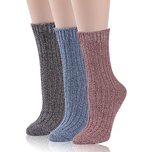 Casual Boot Socks Women, RTZAT Girls Soft Yarn Knit Warm Fashionable Classic Lightweight Outdoor Casual Crew Boot Socks 3 Pairs Light Blue, Black, ()