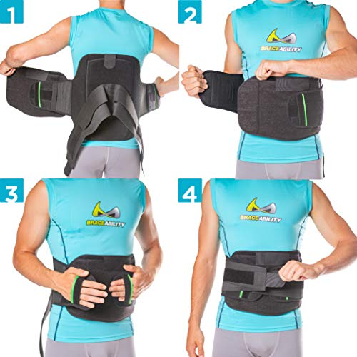 BraceAbility LSO Back Brace for Herniated, Degenerative & Bulging Disc Pain Relief, Sciatica, Spine Stenosis | Medical Lumbar Support Device for Post Surgery & Fractures with Hot/Cold Therapy (2XL) by BraceAbility (Image #8)