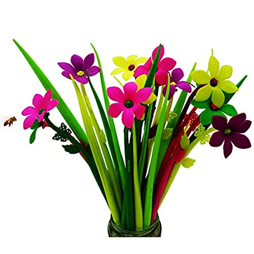 BUOP 24-Count [12+12] Bouquet of Zephyranthes Assorted Color Flower Pen,  Novelty Design Flower Arrangement Style Extra Fine Gel Pen of Grass and ...
