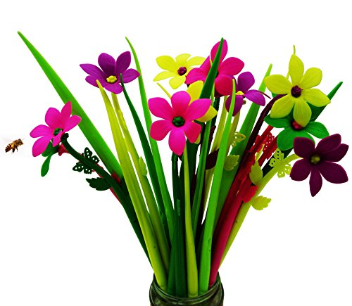 BUOP 24-Count [12+12] Bouquet of Zephyranthes Assorted Color Flower Pen, Novelty Design Flower Arrangement Style Extra Fine Gel Pen of Grass and Zephyranthes
