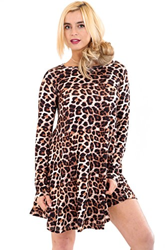 de Swing Ladies Party tartán Larga Leopardo Manga Leopard Dress Top Skater Ar55x4q