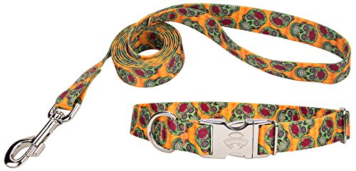 [Country Brook Design Sugar Skulls Premium Dog Collar & Leash - Large] (Skull Buckle Metal)