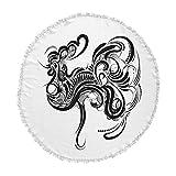 KESS InHouse Maria Bazarova Chicken Black White Animals Art Deco Illustration Vector Round Beach Towel Blanket