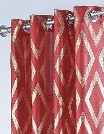Stylemaster Home Products Stanton Metallic Print Grommet Panel 55 by 84-Inch Crimson Belle Maison USA Ltd.