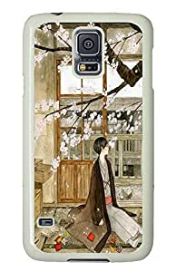 S5 Case, Galaxy S5 Case, Samsung Galaxy S5 Case - Protective Case Thinking Under The Cherry Tree Lovely Hard PC White Cover Heavy Duty Protection Shock-Absorption / Impact Resistant Slim Case for Galaxy S5 / Galaxy SV / Galaxy S V / Galaxy i9600
